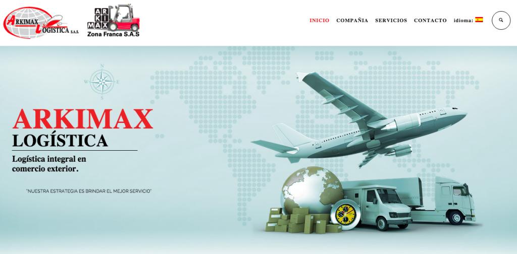 Página web Arkimax Logística